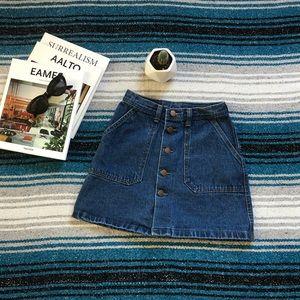 Vintage High Waisted Denim Mini Skirt